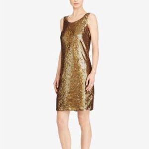 LAUREN by Ralph Lauren copper sequined dress